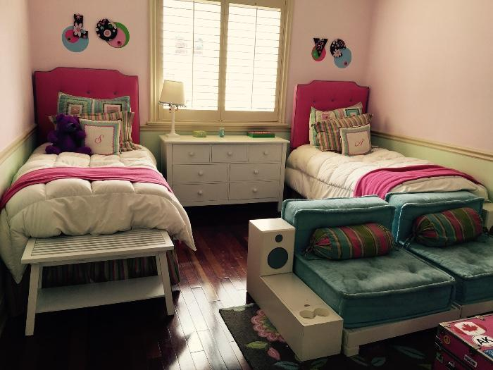 Pottery Barn White Bedroom Set(Custom Hot Pink Headboards)