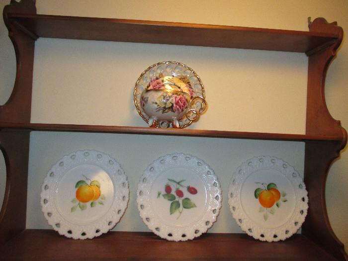 Another Picture of the Royal Sealy Teacup and Vintage Milk Glass Fruit Plates