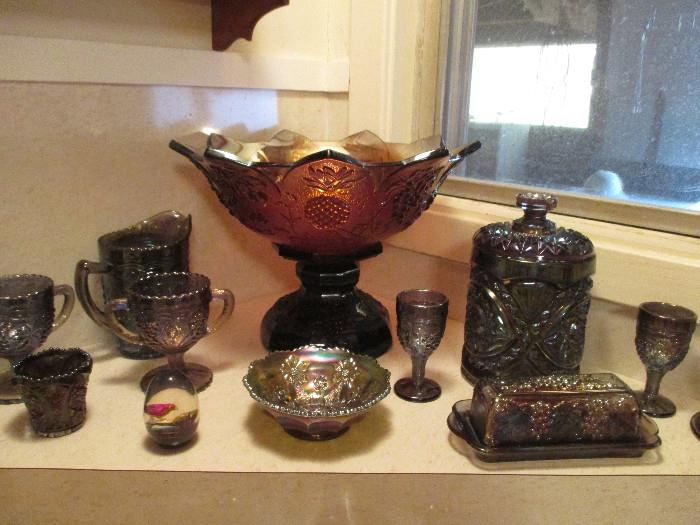 Westmoreland, Fruit Salad Pattern, Punch Bowl, Small Bowl Up Front Is Fenton, Little Flower Pattern, Cookie or Cracker Jar Is Imperial, Hobstar And the Other Items Are Imperial Carnival Glass.  All In Excellant Shape