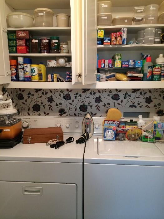KitchenAid washer & dryer; many cleaning supplies; iron; Tupperware