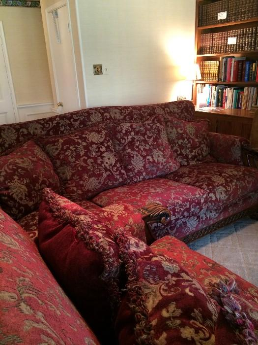 Exceptional oversized like-new sofa & loveseat