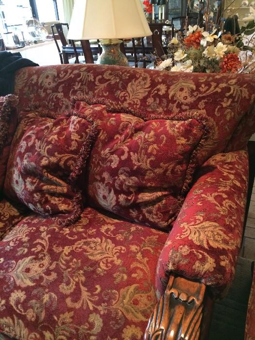 Exceptional oversized like-new sofa & loveseat with carved wood
