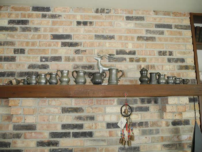 Great collection of antique pewter tankards