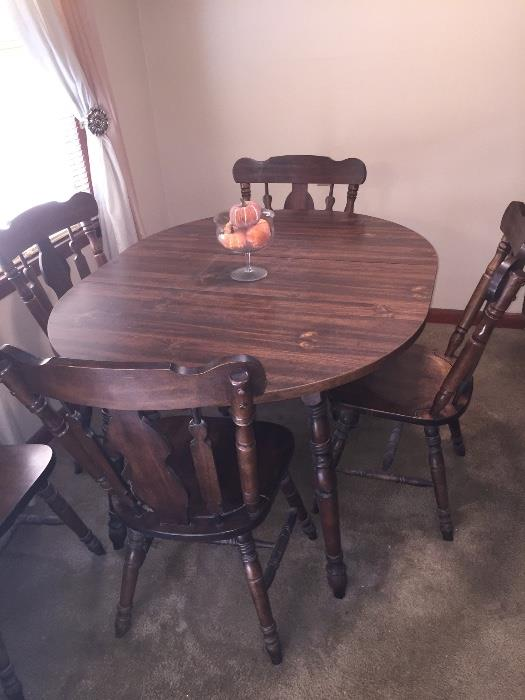 TWO Walnut Dining tables with chairs.