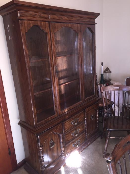 One of a pair of Broyhill China cabinets
