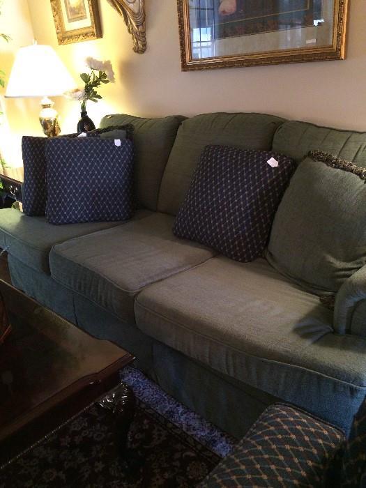 Extra comfortable green sofa