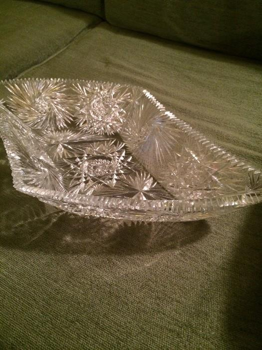 Exceptional signed cut glass bowl