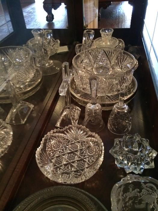 Variety of cut glass & crystal serving pieces