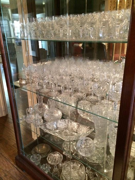 Display cabinet of cut glass, crystal, & glassware