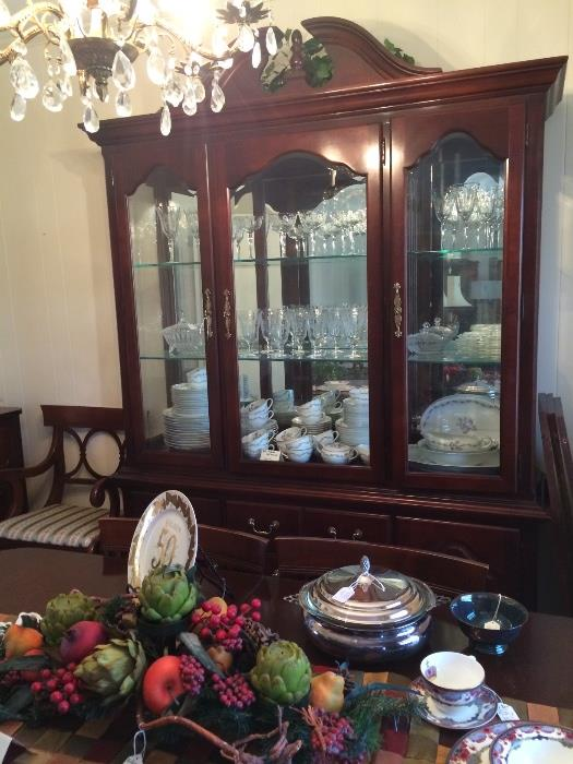 Lovely china cabinet, crystal, and china