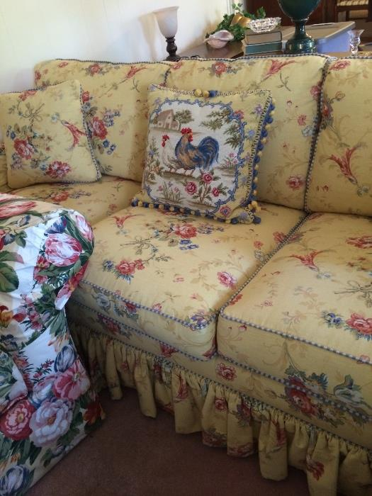Shabby chic sofa & decorative pillow in yellow & blue