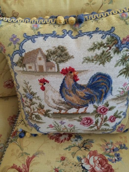 Rooster pillow with yellow & blue ball fringe