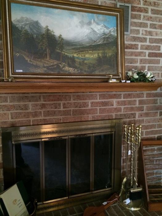 Firescreen, fireplace tools, &  framed art