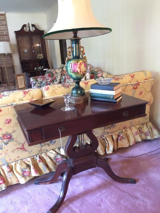 Antique table; hand painted lamp