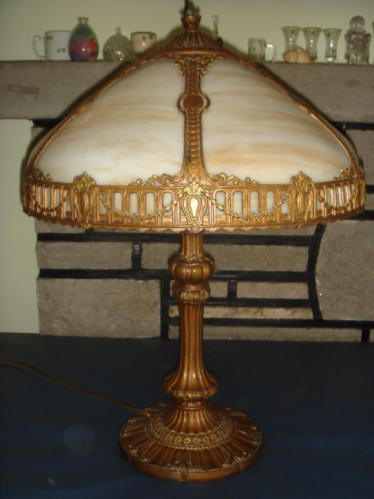 Antique E Miller Slag Lamp