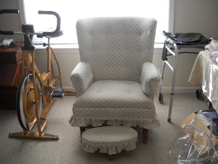 Rocker and foot stool.