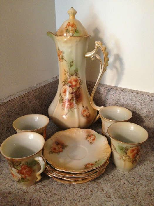 RS Prussia chocolate pot set with plates and cups