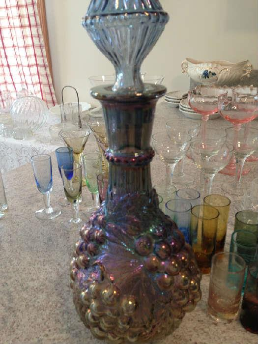 Grape/leaf carnival glass decanter