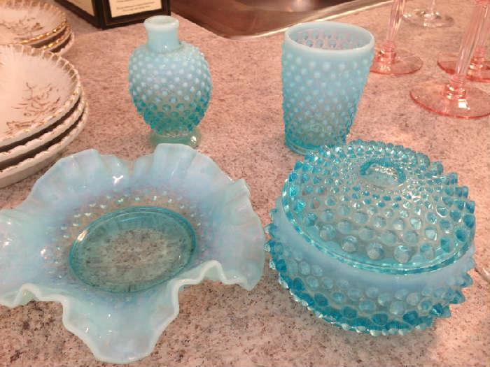 Fenton hobnail turquoise glass