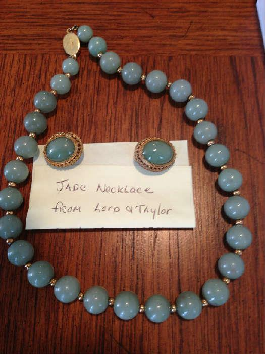 Jade beaded necklace and earrings from Lord & Taylor