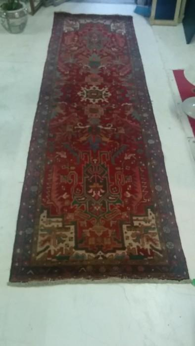 Hand woven 100% wool Persian runner, measures 13' x 3'9""