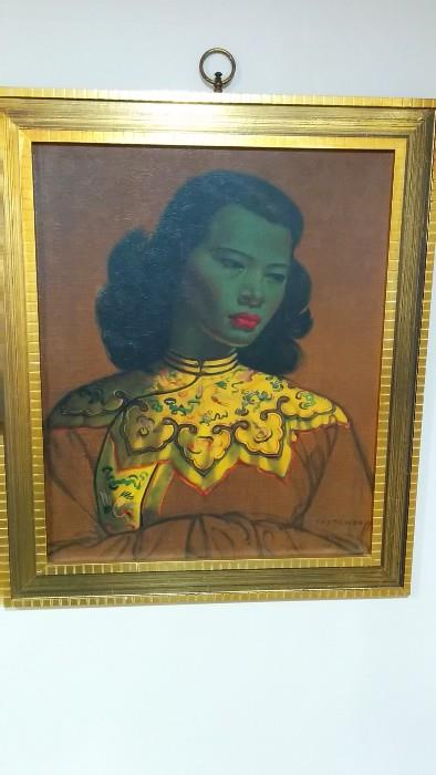 The Green Lady, by Vladimir Tretchikoff. This print was purchased at Rich's Dept. store by one of the department managers in the early 1960's - a fascinating AA woman, I had to buy this from her.
