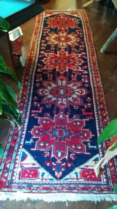 "Hand woven, 100% wool Persian Heriz runner, Measures 11'2"" x 3'1"""