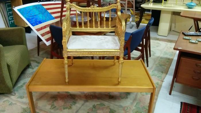 Vintage French gilded wood chair - fit for a QUEEN!