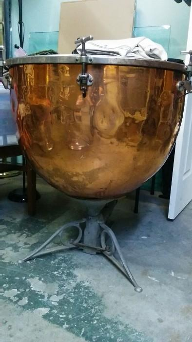 "Yippee! A Copper kettle Remo ""Weather King"" tympani drum, with sticks and everything. We don't miss a beat around here..."