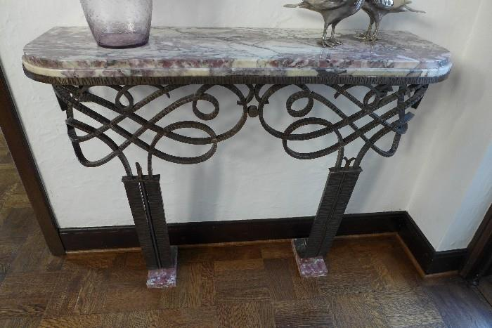 French Art Moderne wrought-iron marble topped console table attributed to Gilbert Poillerat