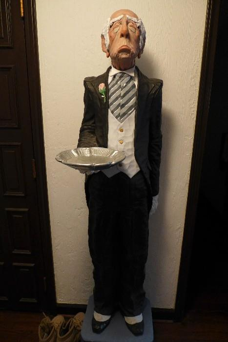 "Carved wood sculpture by Jack Dowd, ""Butler ll"""