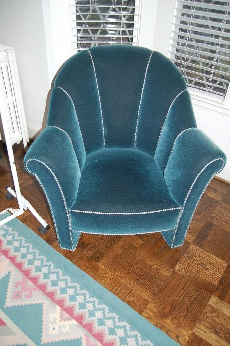 Teal upholstered chair authorized by Josef Hoffman Estate
