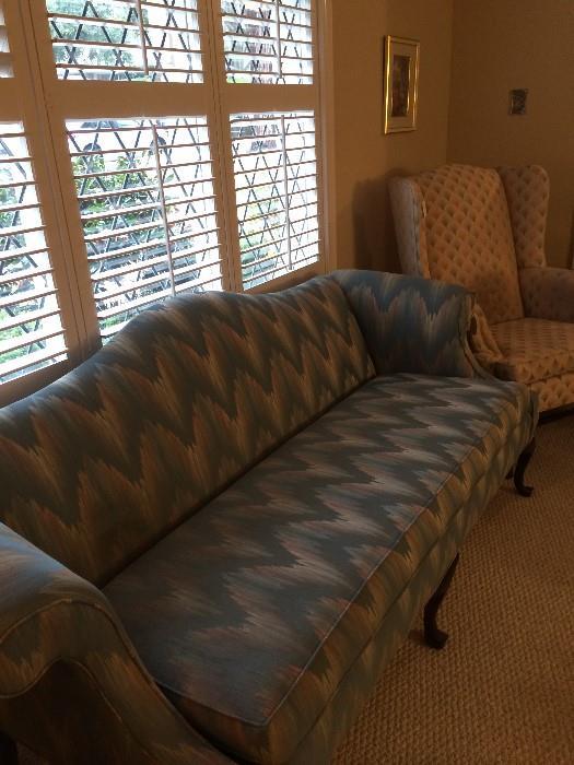 Flame stitch sofa
