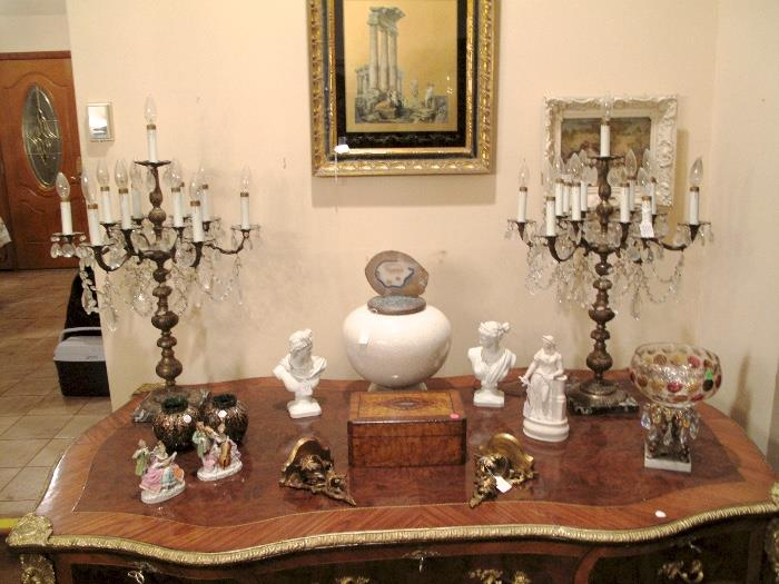 French Chandelier Lamps, Busts, Porcelain Victorian Scenes, French Louis XV Ormolu mounted table with 3 drawers in the frieze.