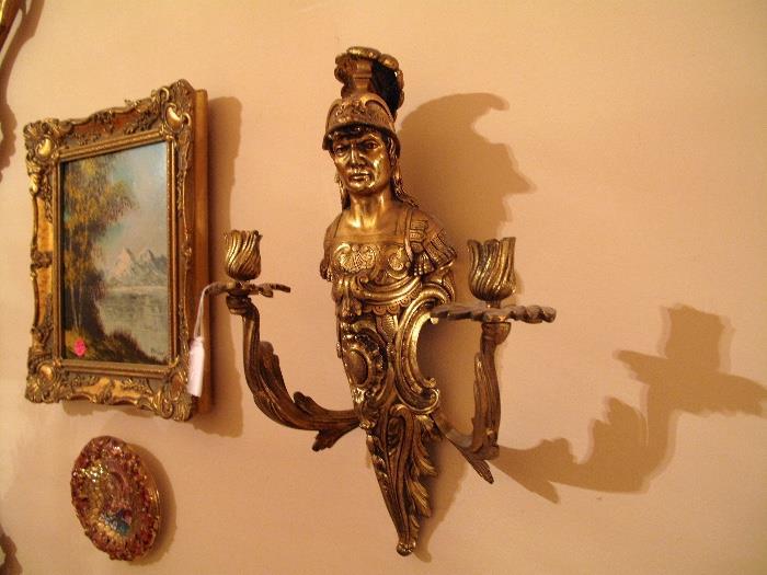Roman Bronze with flower bud candelabras
