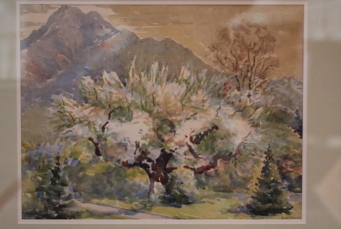 Original watercolor by Joseph A. F. Everett (Mormon, Utah, early 20th century)