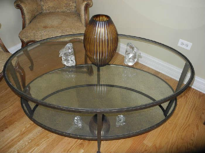 Crate and Barrel oval glass coffee table