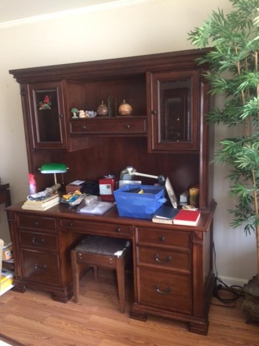 very nice oversized desk with attached bookshelf