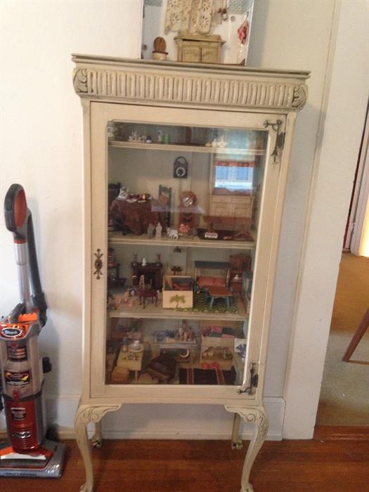 Antique Vitrene: painted finish & original hardware-unidentified maker....Packed with VIntage Doll House Furniture.......