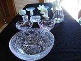 Lalique Bowl, Baccarat Decanter, Tiffany Bowl, Sabino
