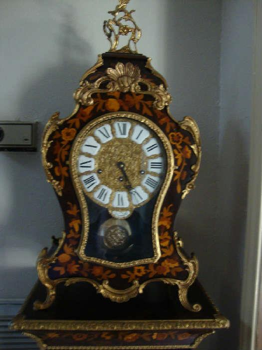 Exquisite Versailles Clock with Matching Base Cabinet