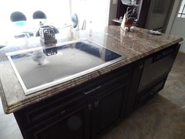 Island with Granite counter top and stove top