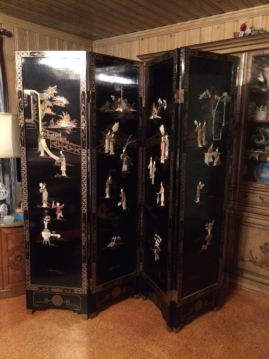 Four Panel Black Lacquer Inlaid Hard Stone & Mother of Pearl Divider