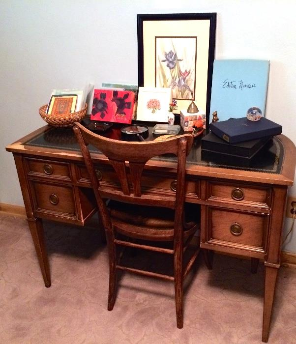 Sligh Lowry Ladies' Pecan Finished Writing Table with Inset Black Leather Top