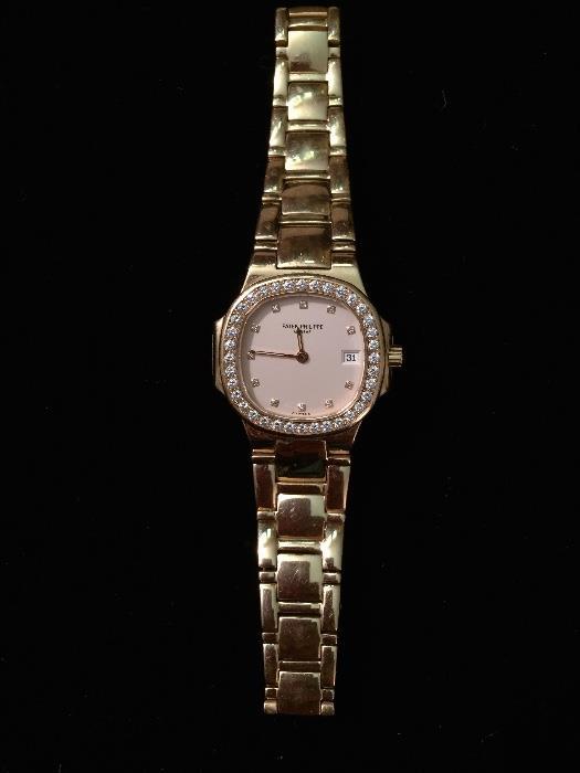 Ladies Patek Philippe Diamond Bezel & Gold Watch