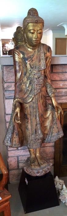 Large Gold Gilt Carved Deity Statue