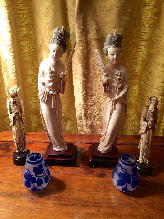 Ivory Figures and Cameo Glass Bud Vases