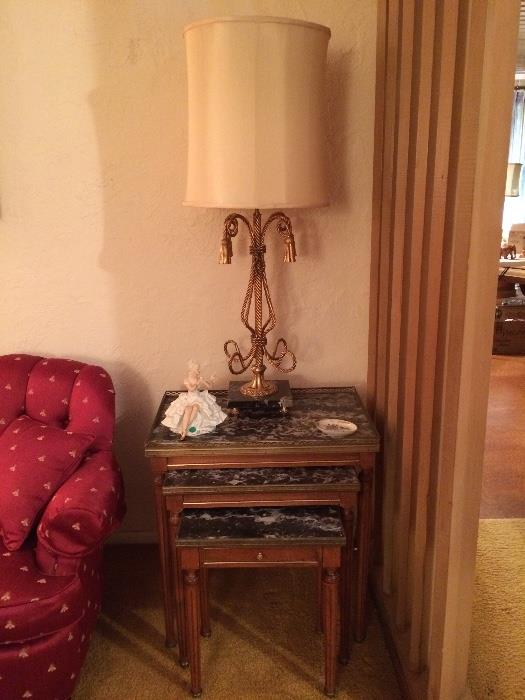 Pecan Finished Nesting Tables with Marble and Brass, Brass and Marble Gold Rope Style Decorator Lamp