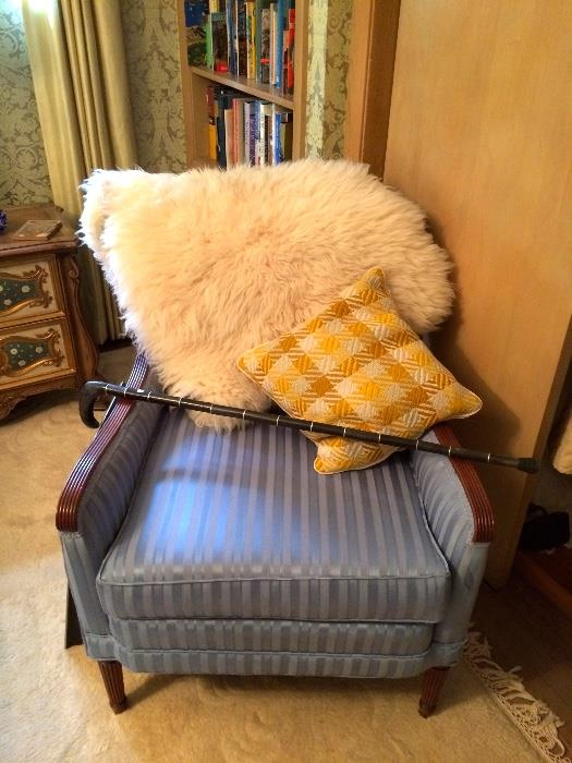 Vintage Arm Chair, Sheep Skin Rug and Horn Cane