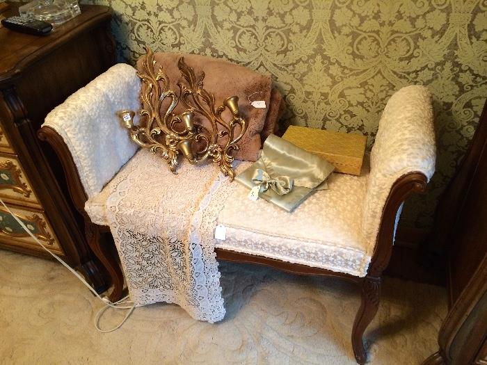 Bench Upholstered in a Chenille Material, Wood Sconces and More